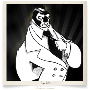 daily mobster sketchbookjack lucca lucha libre luchador cartoon character design illustartion black and white suit tie