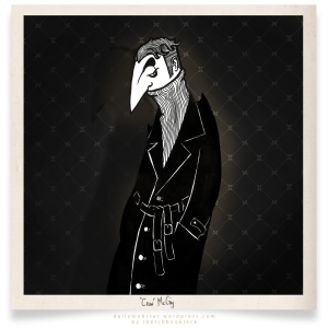 The Crow McCay Daily Mobster Cartoon Character Design Gangster Nose Trenchcoat black illustration retro turtleneck