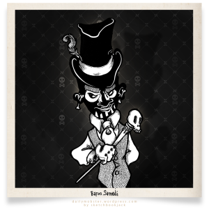 Baron Samedi cartoon character design comic art illustration black and white top hat skull face makeup cane tweed vest voodoo hoodoo new orleans halloween black and white design drawing funny sketchbookjack pimp feather polaroid vintage retro antique photo background skull crossbones jolly roger